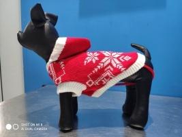Коледен пуловер за куче с качулка